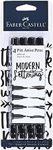 Faber Castell Black Modern Lettering Pitt Artist Pen Set, 4 Count