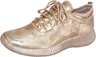 ROXY ROSE Women's Fashion Sneakers Lace Up Metallic Iridescent Painting Creepers Casual Sports Walking Shoes