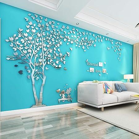 Árbol Pegatinas de Pared 3D Árbol Familia Marco de Fotos DIY Murales Stickers Decoración para Salón, Dormitorio, Oficina, Habitación Pegatinas Pared(3 Plata Izquierda,M-250*130cm)