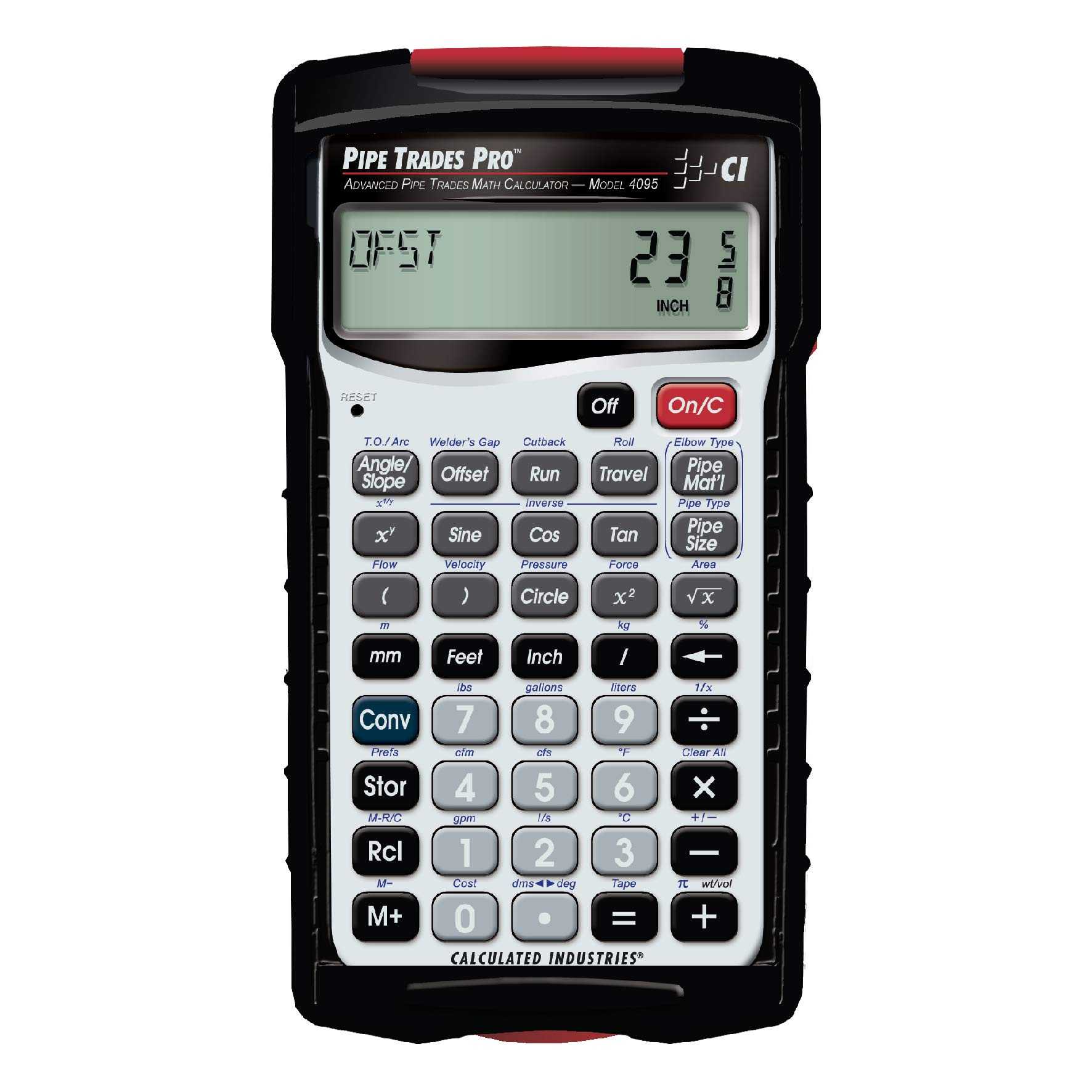 Calculated Industries 4095 Pipe Trades Pro Advanced Pipe Layout and Design Math Calculator Tool for Pipefitters, Steamfitters, Sprinklerfitters and Welders | Built-in Pipe Data for 7 Materials