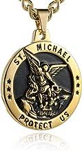 HZMAN St Michael The Archangel Catholic Medal Stainless Steel Amulet Pendant Necklace 22+2