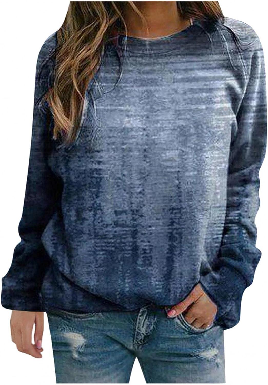 Sweatshirts for Women,Women's Flower Print Sweatshirts Thermal Crewneck Long Sleeve T-Shirts Loose Pullover