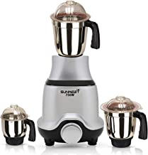 Sunmeet BUTSLV21 750-Watt Mixer Grinder with 3 Jars -1 Wet Jar, 1 Dry Jar and 1 Chutney Jar, Silver