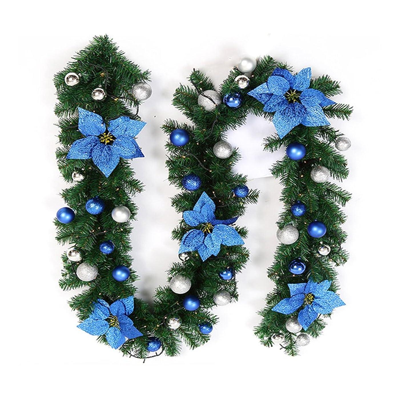 処分した推進買い手Enjoygojp270cmクリスマスリース モール ライト付き クリスマス 飾り ガーランド クリスマス 飾り キャンディー ライト付き 電池式 植物 喫茶店 飲食店 柵 階段の手すり ホビー 玄関 ドア 窓 パーティー装飾藤 (ブルー)