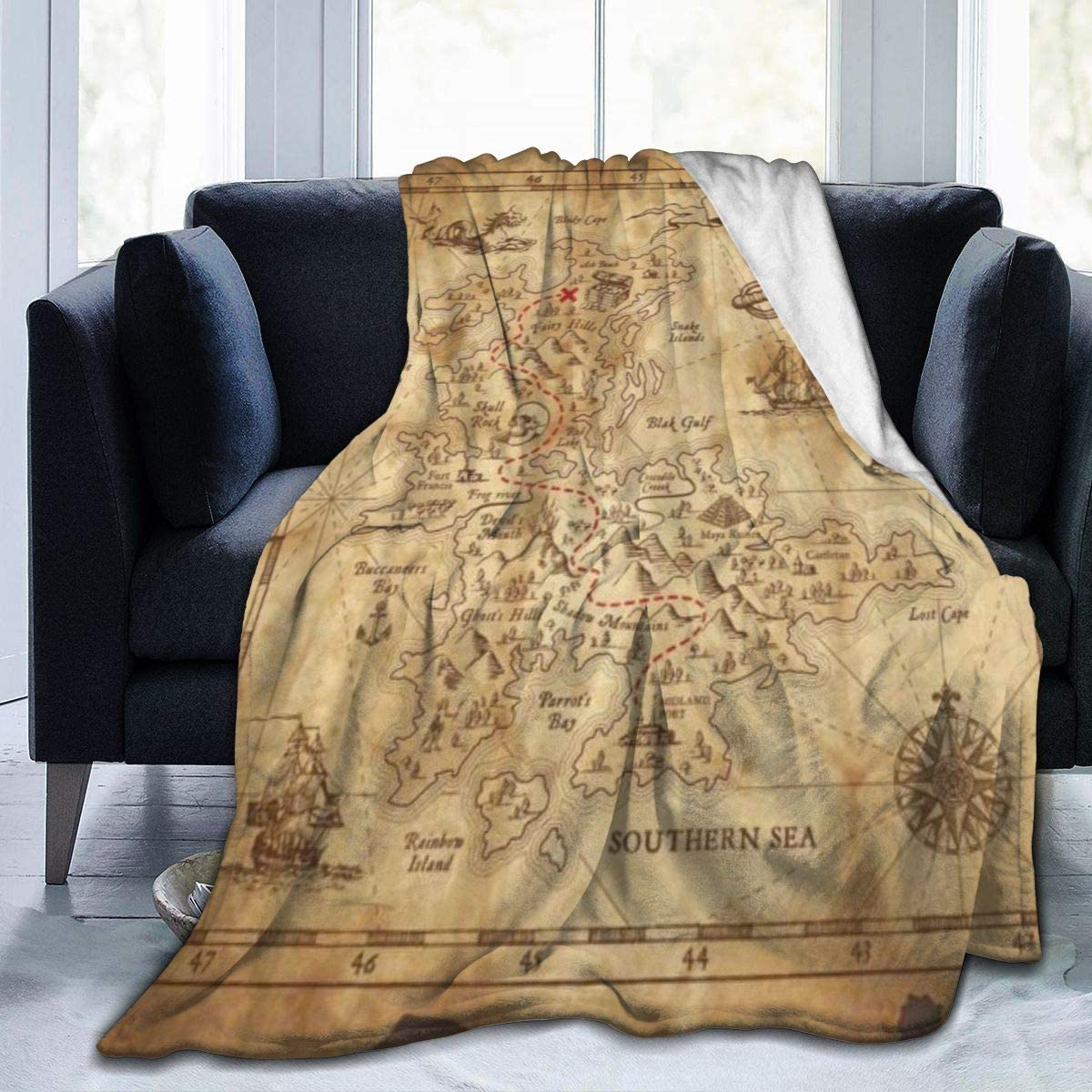 Janrely Ultra-Soft Micro Fleece Blanket 流行 Detailed Pirate Super バーゲンセール Tr