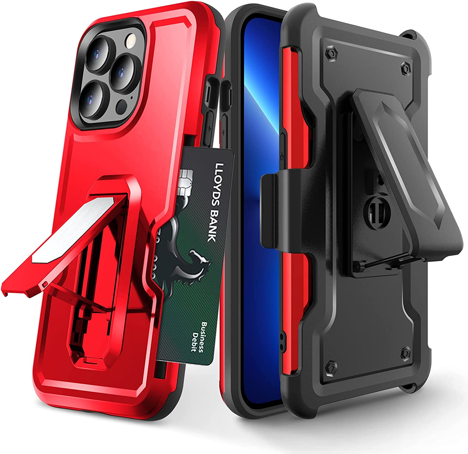 Elegant Choise for iPhone 13 Pro Case, iPhone 13 Pro Phone Case, Case for iPhone 13 Pro, iPhone 13 Pro Case with Card Holder/Kickstand/Belt Clip, Protective Phone Cases for iPhone 13 Pro (Red)