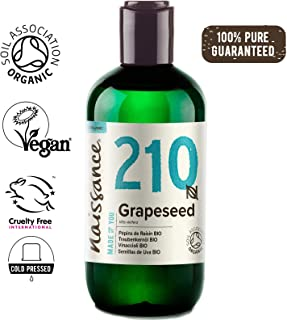 Naissance Organic Grapeseed Oil 8.5 fl oz / 250ml - Pure, Natural, UK Certified Organic, Cold Pressed, Vegan, Hexane Free, No GMO - Natural Moisturizer and Conditioner for Hair and Skin
