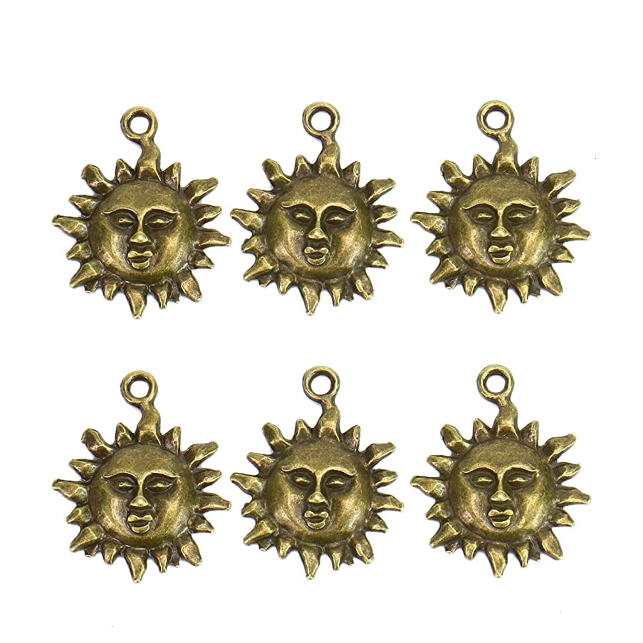 Monrocco 100 Pcs Sun Charms Antique Bronze Tone Charms Pendant Jewelry Findings for Jewelry Making Necklace Bracelet DIY