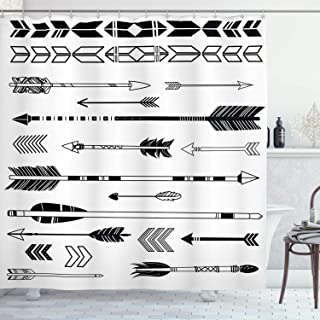 Ambesonne Black and White Decor Collection, Western Themed Shapes Traditional Tribal Culture Print, Polyester Fabric Bathroom Shower Curtain Set with Hooks, Black White