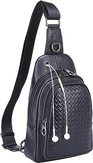 Men's Genuine Leather Versatile Sling Bag Shoulder Chest Packs Cross Backpack