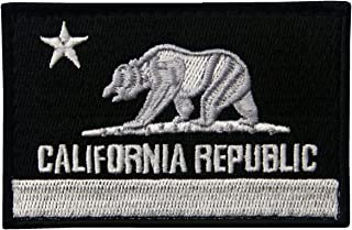 (White & Black) - EmbTao California Tactical Embroidered Applique Hook and loop Patch - White & Black