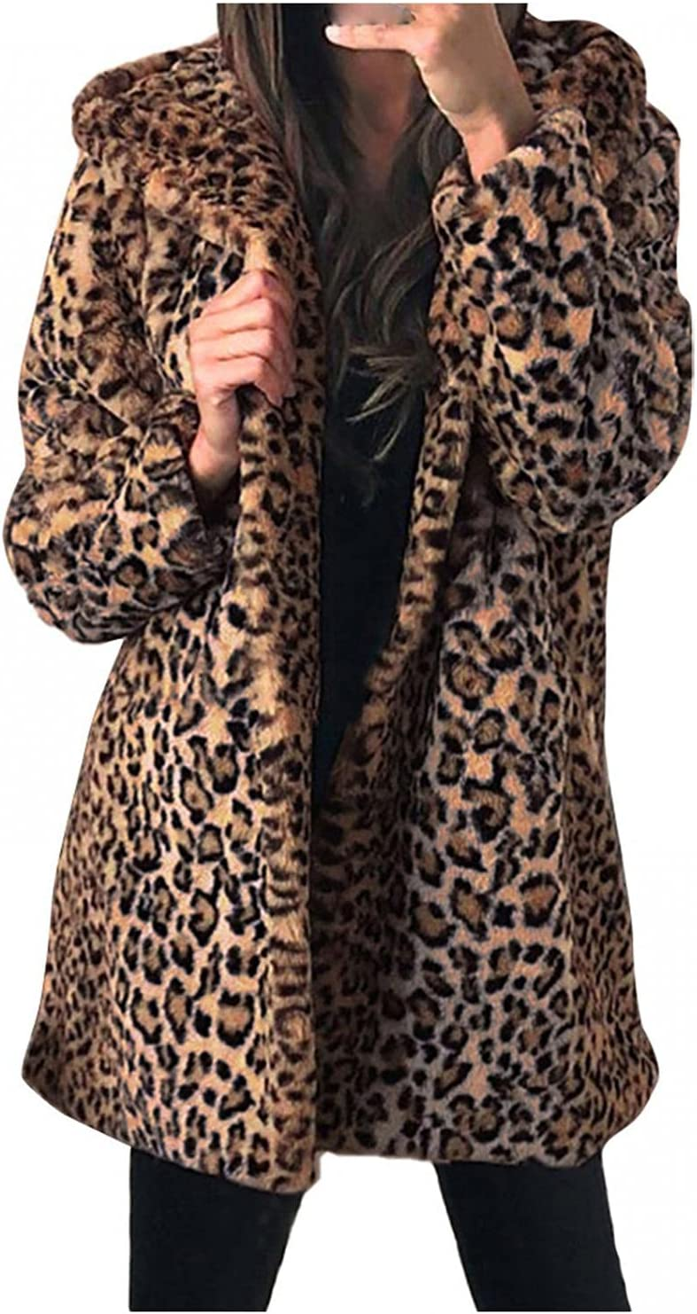 Smileyth Women Leopard Print Faux Fur Long Sleeve Fuzzy Warm Jac