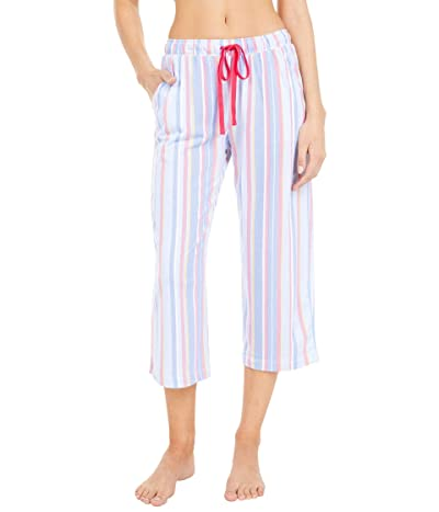 Karen Neuburger Petite Sunday In Sorrento Capris Pants (Cornflower Blue Picnic Stripe) Women