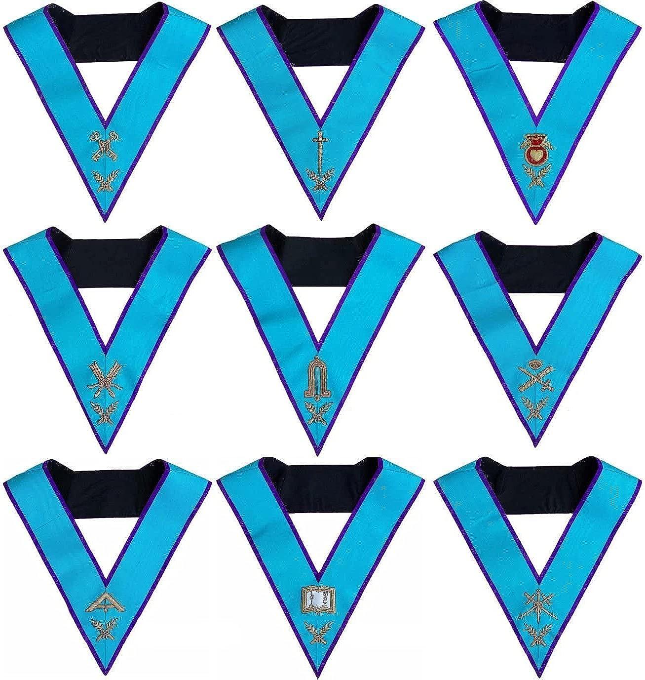 Masonic Memphis Misraim Officer Collars Set Of 9 Hand Embroidered