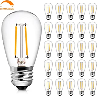 S14 2W LED Edison Light Bulbs Dimmable for Outdoor String Light Replacement, Soft White 2700K Waterproof Vintage LED Filament Bulb, 20-25 Watt Equivalent LED Bulbs, E26 Screw Base, Pack of 25