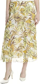 madison & hill Women's Crinkle Crepe A-line Maxi Skirt in Chartreuse Floral, 12