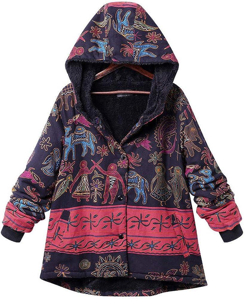 TOTOD Women Coat Flannel Lined Warm Jacket Vintage Ethnic Boho Print Warm Hooded Outercoat Plus Size