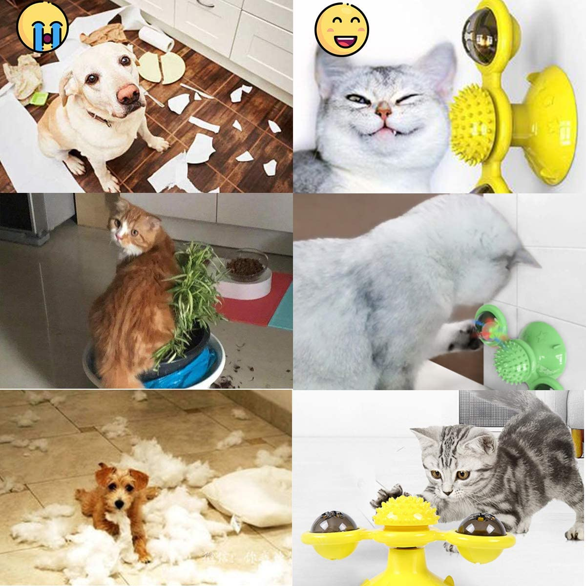 Window Interactive Windmill Cat Toy Rotatable Teasing Pet Cat Toys for Indoor Cats with Silicone Scratching Tickle Cats Hair Brush Cat Toy with Catnip and Led Balls and Suction Cup for Floor Door