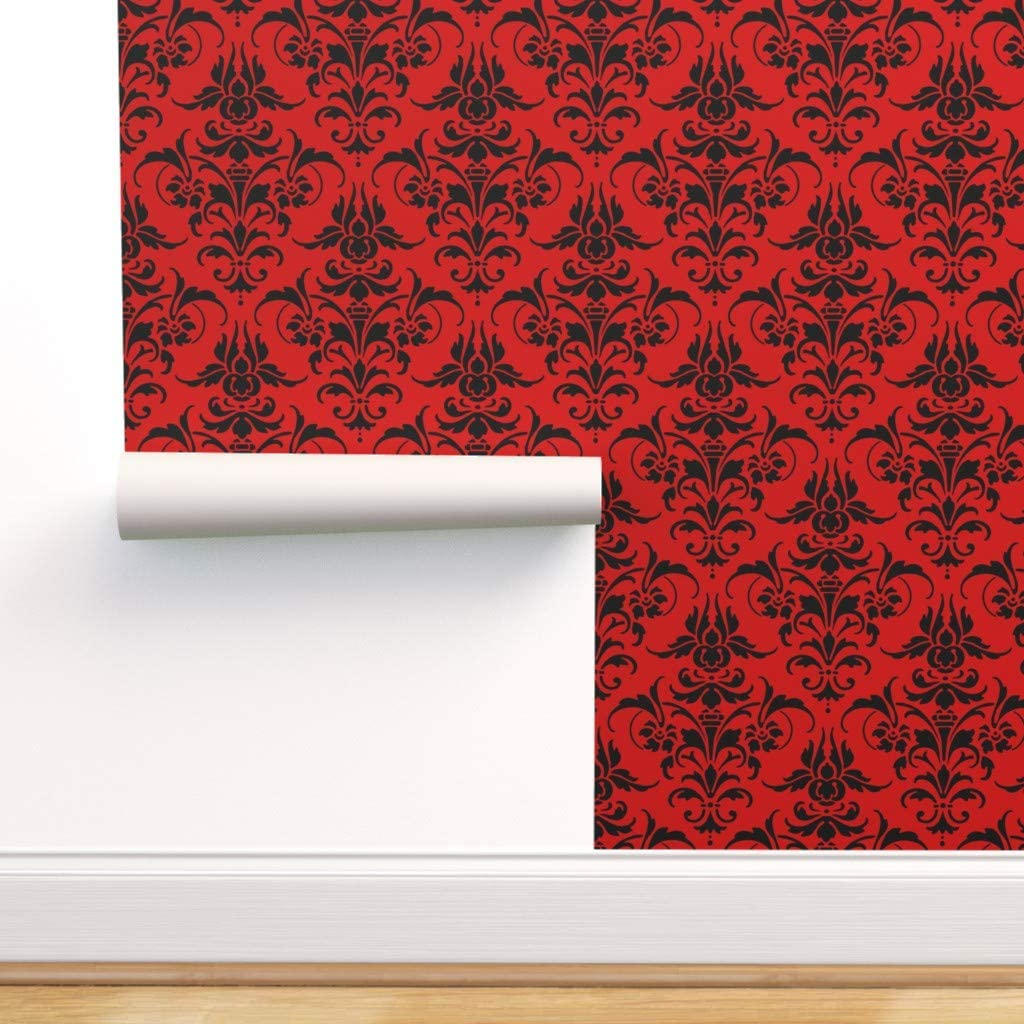 Spoonflower Peel 初売り and Stick 40%OFFの激安セール Removable Damask Wallpaper Red Black