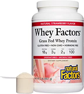 Whey Factors by Natural Factors, Grass Fed Whey Protein Concentrate, Aids Muscle Development and Immune Health, Strawberry...