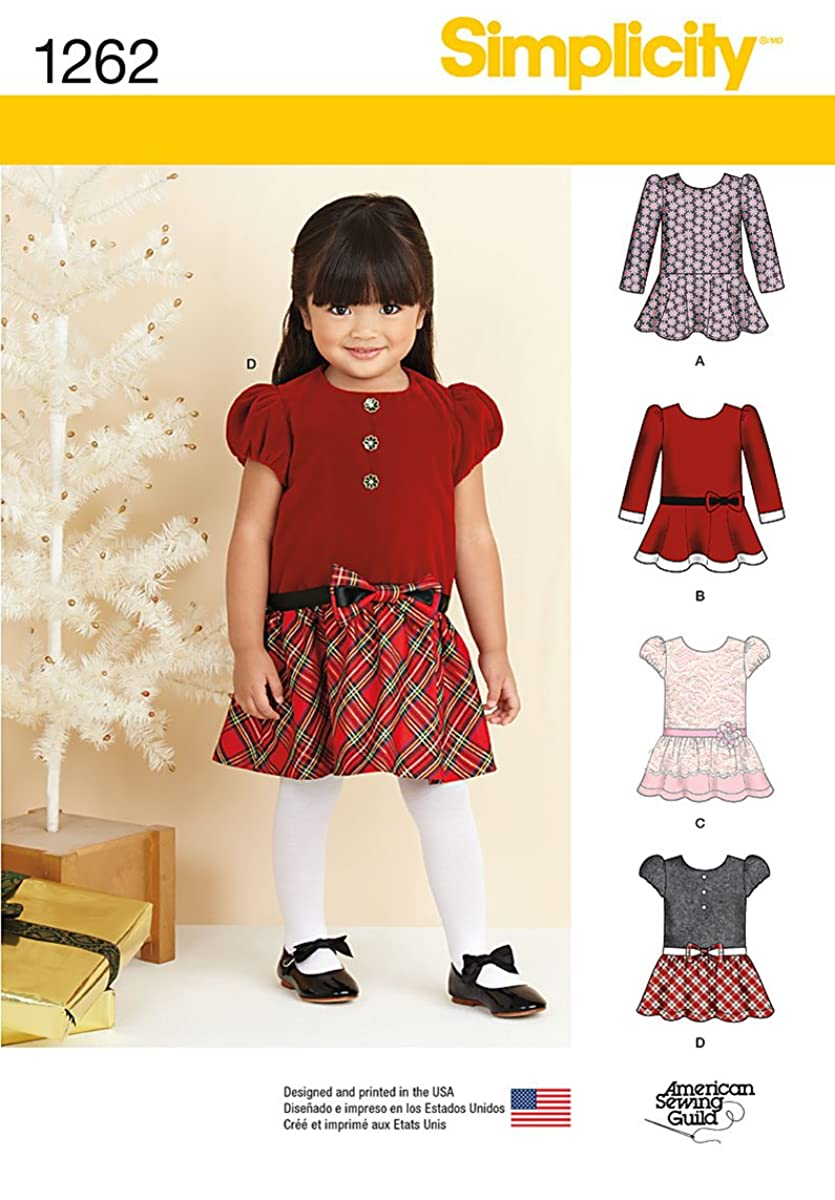 Simplicity American Sewing Guild Pattern 1262 Toddler Dresses with Variations Sizes 1/2-1-2-3-4