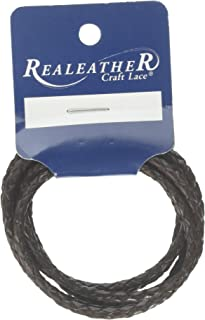 """Round Braided Leather Lace 3mmX40"""" Packaged-Chocolate"""