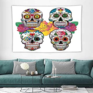 Alisoso Sugar Skull DecorWall Tapestries Hippie Different Types of Skulls Rich Colorful Ornaments Roses Border Carnival Tapestry Wallpaper Home Decor W32 x L32 inch