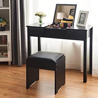 Giantex Vanity Set with Flip Top Mirror and Cushioned Stool, Makeup Dressing Table Writing Desk with 2 Drawers & 3 Removable Organizers, Makeup Table Set Easy Assembly, Black