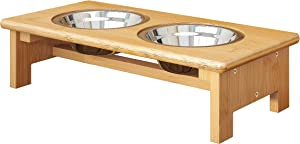 FILWH Bamboo Elevated Dog Bowls, Raised Dog Cat Food and Water Bowls Elevated Feeder Stand with 2 Stainless Steel Bowls and Anti Slip Feet - 4 for Small to Large Dogs