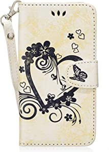 Galaxy 2017 Case  Bear Village  Flip Leather Wallet Cover  Shockproof Case with Magnetic Closure and Card Slots Holder for Samsung Galaxy 2017  White