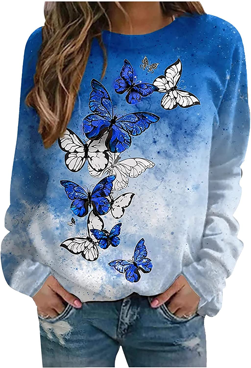 Blouses for Women Fashion 2021,Comfy O-Neck Butterfly Printed Pullover Tops Loose Long Sleeve Ladies Sexy Breathable T-Shirts