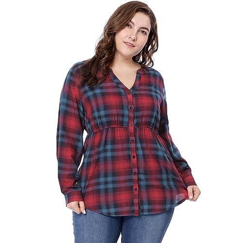 d1efc1db543 Agnes Orinda Women s Plus Size Empire Waist V Neck Button Down Plaid Shirt
