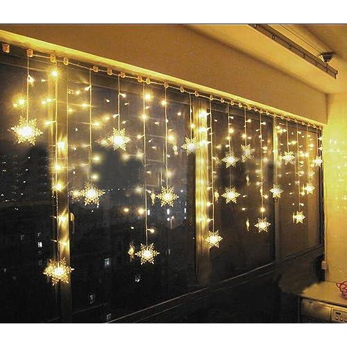 Hownew-X LED Snowflake Curtain Outdoor/Indoor Waterproof String Fairy  Decoration Christmas Tree Xmas - Xmas Window Lights: Amazon.co.uk