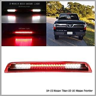 Rear High Mount LED 3rd Tail Brake/Cargo Light Fit For 2004-2015 Nissan Titan 2005-2016 Nissan Frontier 26590-EA800 (Chrome Housing Red Lens)