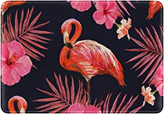 Mydaily Flamingo Flower Palm Leaves Leather Passport Holder Cover Case Protector