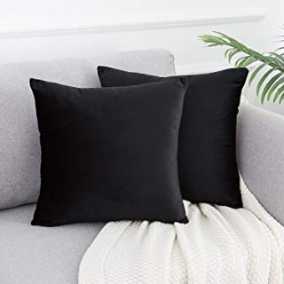 WLNUI Set of 2 Soft Velvet Solid Black Decorative Square Throw Pillow Covers Set Cushion Case for Sofa Couch Home Decor 18x18 Inches 45x45 cm