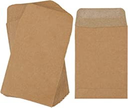 Cooraby 100 Pieces Small Coin Envelopes Kraft Self-Adhesive Mini Parts Envelopes for Coin, Seed, Jewelry, Stamps or Small Parts Storage, 2.25x3.5 Inch, Water to Activate Viscosity for Secure Sealing