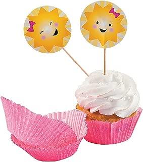 Fun Express - Sunshine Cupcake Wrappers W/picks for Birthday - Party Supplies - Serveware & Barware - Misc Serveware & Barware - Birthday - 100 Pieces