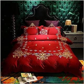 Embroidered 4/6Pcs Bedding Sets Queen King Size Bedlinen Cotton Sheet Set Quilt Cover Set,Color 2,Queen 7Pcs