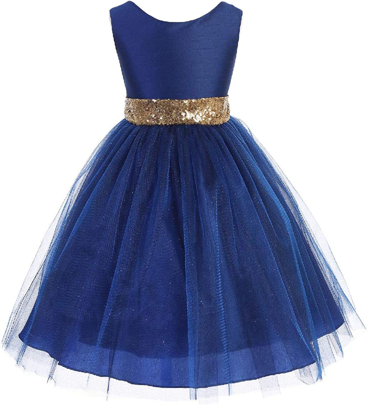 Blue Flower Girl Dupioni Tulle Glitter Dress Sequins Christmas Holidays Party