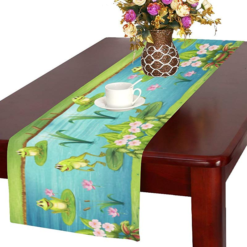 InterestPrint Frog Living In The Pond Polyester Long Table Runner 16 X 72 Inches Pink Water Lotus Flower Rectangle Table Cloth Placemat For Office Kitchen Dining Wedding Party Home Decor