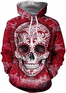 ManxiVoo Hooded Sweatshirt Unisex Skull 3D Printed Hoodie Pullover Long Sleeve Tops Blouse