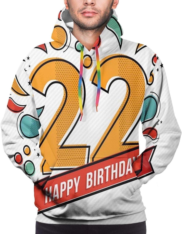 TENJONE Men's Hoodies Sweatshirts,Colorful Anniversary Invitation Typography Design with Modern Graphic Print
