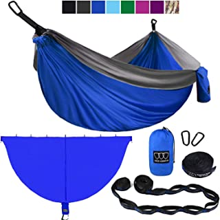 Gold Armour Camping Hammock and Bug Net Set - Double Parachute Hammock (2 Tree Straps 16 Loops/10 ft Included) USA Brand Lightweight Men Women Kids, Camping Accessories Gear