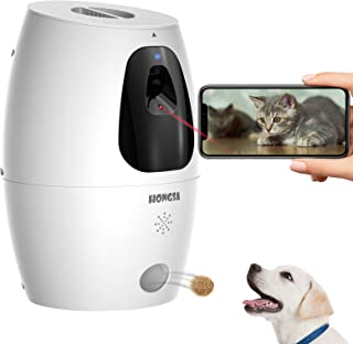 Sponsored Ad - HONGSA Smart Pet Camera with Treat Dispenser & Tossing, Dog Cat Camera, 2.4G WiFi, 1080P Night Vision Camer...