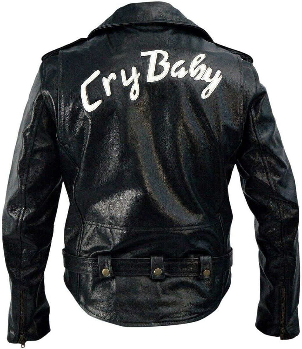 Prime-Fashion Mens Johnny Depp Wade Walker Brando Black Motorcycle Leather Jacket