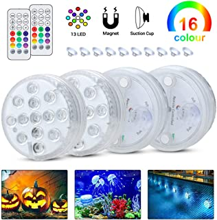 Submersible LED Lights with RF Remote, Magnets, Suction Cups, 13 LEDs Underwater Lights IP68 Waterproof Pond Lights,Battery Operated Decoration Light for Pool Fountain Aquarium Pond Vase Bathtub Party