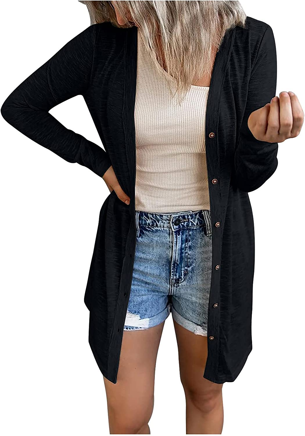 Cardigan for Women Fashion Solid Buttons Cardigan Outerwear Loose Long Sleeve Tunic Tees Autumn Coat