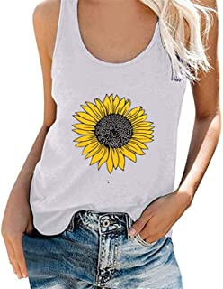 Cami Women Sunflower Pattern Tank Top Summer Tunic Vest Tshirt Casual Tee Shirt Tops Blouse Teens (Color : White, Size : M...