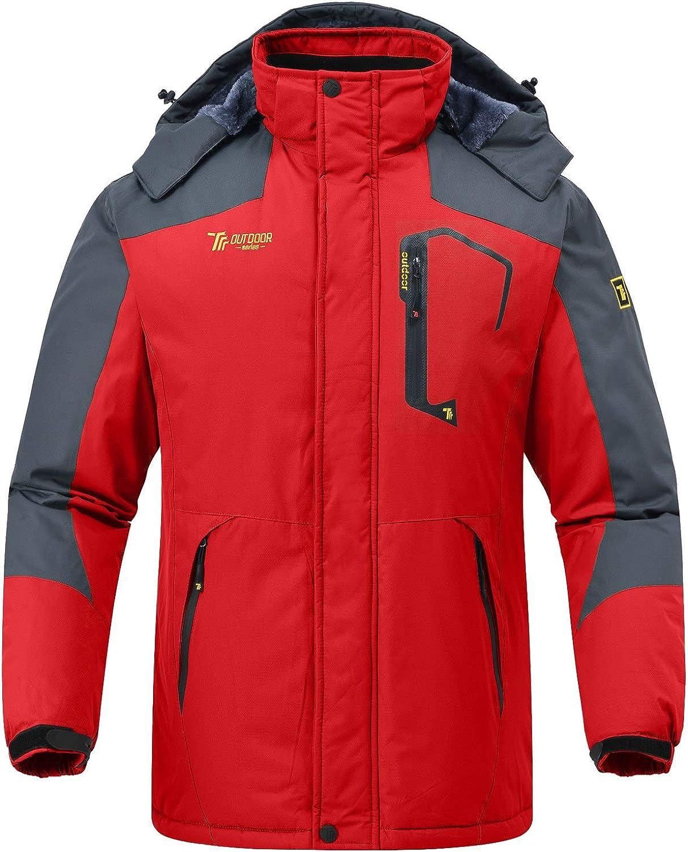 Rdruko Men's Outdoor Ski Snow Jacket Waterproof Fleece Mountain Hooded Rain Coat